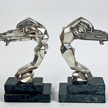 Stylized Art Deco bookends/ Car Mascots 