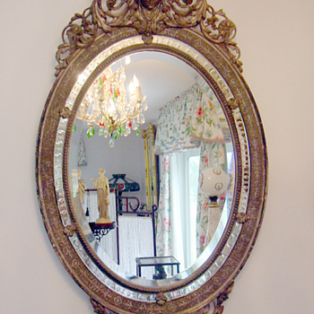 Antique Gilt Sterling Silver Oval Wall Mirror w Queen Cameo Hand Carved - Victorian Era