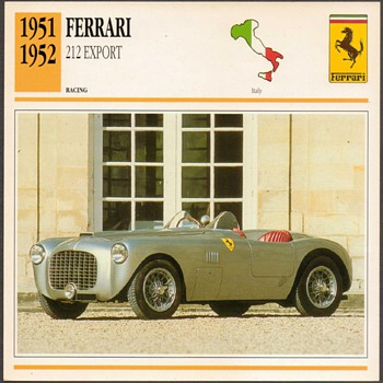 Vintage Car Card - Ferrari 212 Export