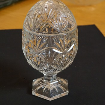 Egg Shaped Glass Candy Dish with Lid