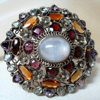 Arts and Crafts Handmade Multistone Brooch - Fine Jewelry
