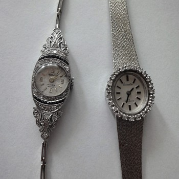 14 K diamond watch, 18K Art Deco diamonds sapphire watch