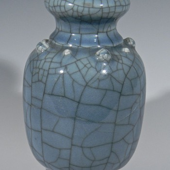 Blue Crackle Glaze Pottery Vase - Asian