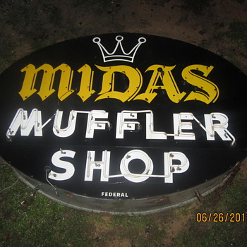 Double sided porcelain neon Midas muffler sign - Advertising