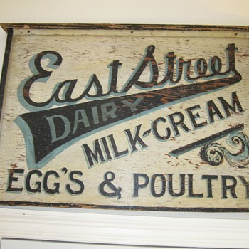 Antique Trade Sign Hand Painted Dairy Eggs Milk Cream Estreet - Signs