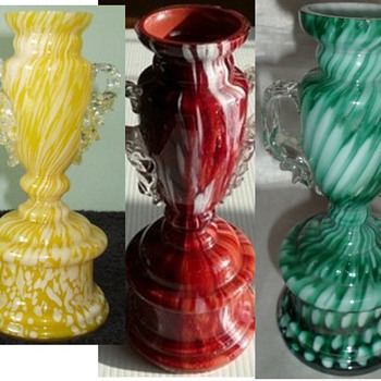 Antonin Rückl & Sons Bohemian Vases in Various Cottage Glass Decors - Art Glass