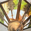 Hanging Slag Glass Light with Brass Overlay