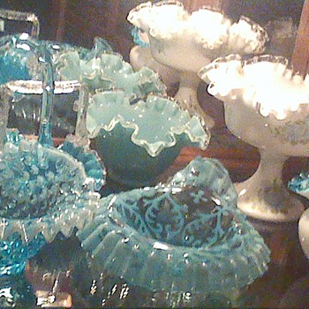 Group of Blue Fenton and Northwood - Art Glass