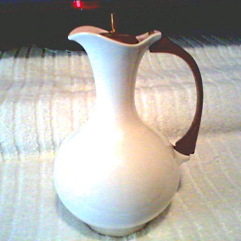 Mid Century White Ceramic Water Pitcher with Teak Handle and Stopper / By Taylor Smith and Taylor / Circa 1950-60