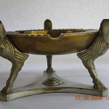 Egyptian Revival Figural Ashtray/brass w/nickle plated figurines  - Tobacciana