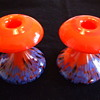 Old Czechoslovakian Mushroom-shaped Fiery Orange Spatter Glass Candleholders