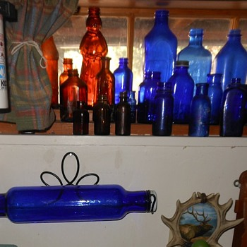 Cobalt Blue Glass Rolling Pin Plus Blue Bottles - Bottles