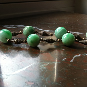 old chinese court necklace jade big beads in a necklace - Asian