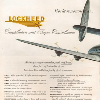 1954 - Lockheed Aircraft Advertisement - Advertising