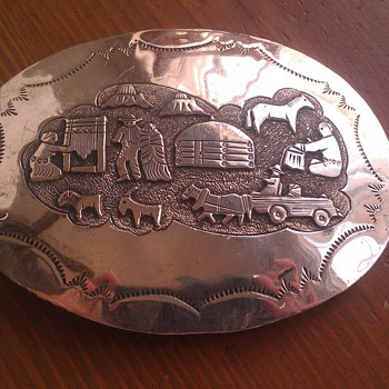 Vintage Western Motif Sterling Belt Buckle