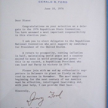 Gerald Ford 1976 letter with envelope