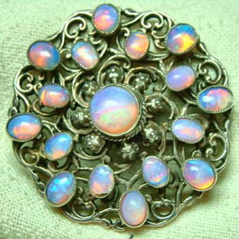 Antique Arts and Crafts opal Brooch - Fine Jewelry