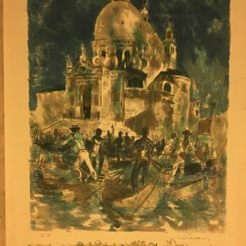 HELP ID!? Mid-Century Painting: Gondolas / Boating