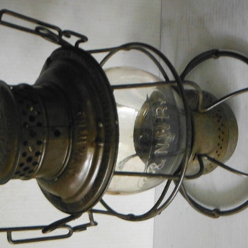 Tall Globe Chicago & North Western Railroad Lantern Marked Globe & Canopy - Railroadiana
