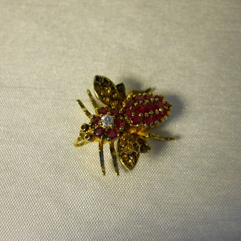 Vintage Sterling Silver Gold Vermeil Ruby & Clear Flying Insect Bug Pin Brooch - Costume Jewelry