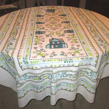 Vintage Terrycloth Small Card Table Tablecloth but more than I bargained for....