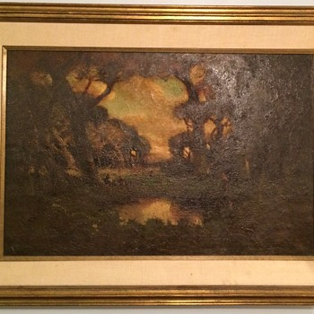 Very old Medieval Painting? Village, wooded scene. Signed,  lost work?  - Visual Art