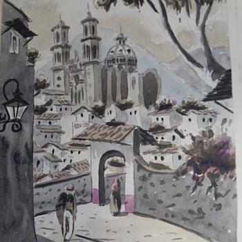 2 Vintage Mexican Watercolor Paintings - Maxx Vidal + Unknown Mex Artist- Help Identify. - Visual Art