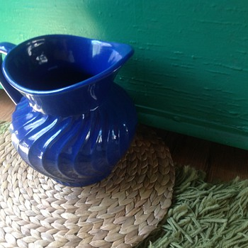 My New Blue Goodwill Pitcher . . . Fioriware - Art Pottery