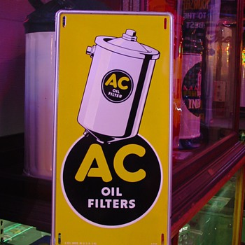Original...AC Oil Filters...Tin Sign...Four Colors...March 1941 - Advertising