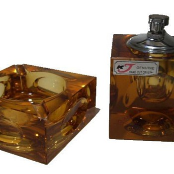 Cube SMOKING SET ( Ashtray & Lighter ) - Art Glass