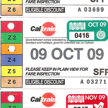 Caltrain Passes, Sept 2009 - Aug, 2010 - Railroadiana