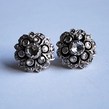 Georgian or Victorian Rose cut diamond silver and gold flower earrings