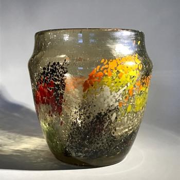 Leveille Rousseau Craquelle Glass Vase (pre 1885)