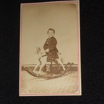 CDV of child on rocking horse - Photographs