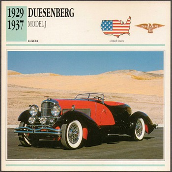 Vintage Car Card - Duesenberg Model J