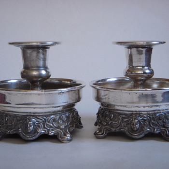 Silver Plate Candleholders w/Cast 'Classic' Art Nouveau Base~Unmarked - Art Nouveau