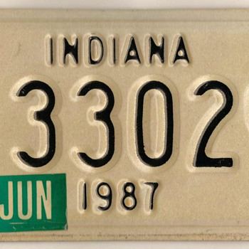 1987 - Motorcycle License Plate (Indiana)