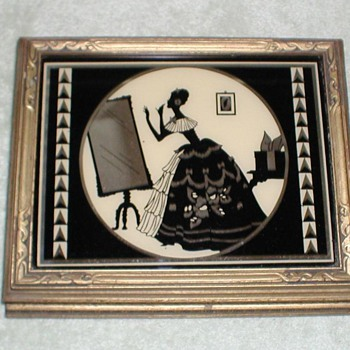 Jewelry Box with Painted Silhouette Mirror - Art Deco