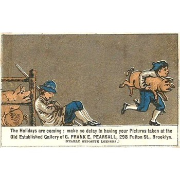 Two more odd 1880s Trade Cards for Frank Pearsall, Brooklyn Photographer