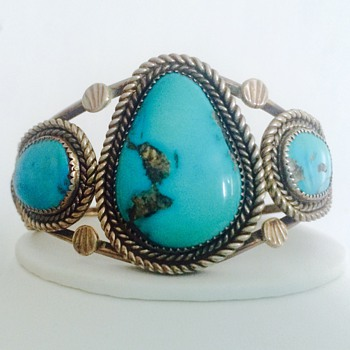Fred Harvey Huge Navajo Morenci Turquoise Silver Cuff Bracelet