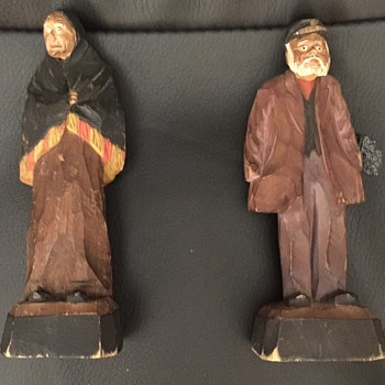 Late 1800  - Early 1900 Carvings of Old Woman and Man