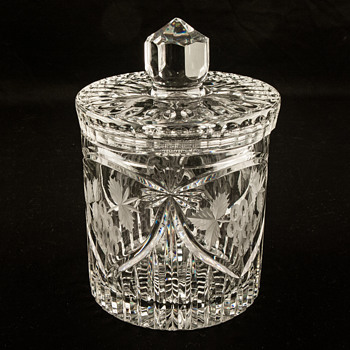 Crystal Biscuit or Cookie Jar With Lid Canister Heavy Cut Glass
