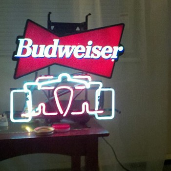 Budweiser neon that was given to us by a friend.