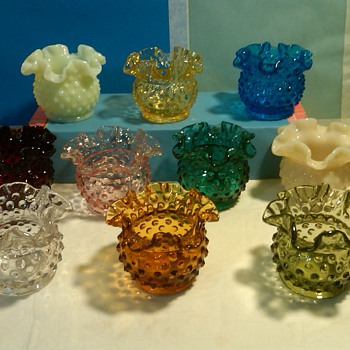fenton hobnail rose bowls 