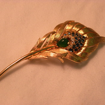 Marcel Boucher Peacock Feather Brooch