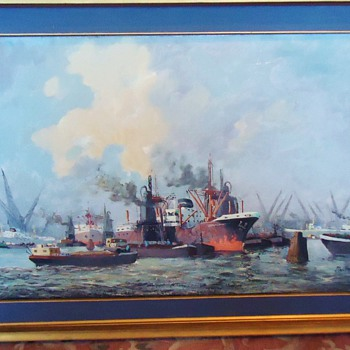 Repost oil on board Verdonk? Dutch,  NEED HELP! Donkey's at Beach by F.W. Verdonk  and ship?