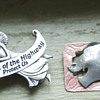 "Brass elephant pin 1939 ""Angel of the highway protect us"" clip"