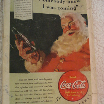 1940 ADVERTISING SANTA CLAUS DRINKING A BOTTLE OF COKE. - Paper