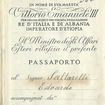 WW2 Italian passport - Paper