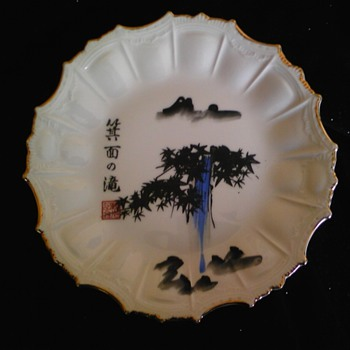 japanese hand painted plate - Asian